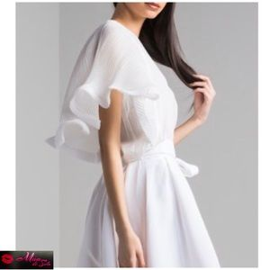 White Blouse with Butterfly Pleated Sleeves